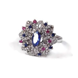 925SS Art Deco Sapphire Ruby Statement Ring